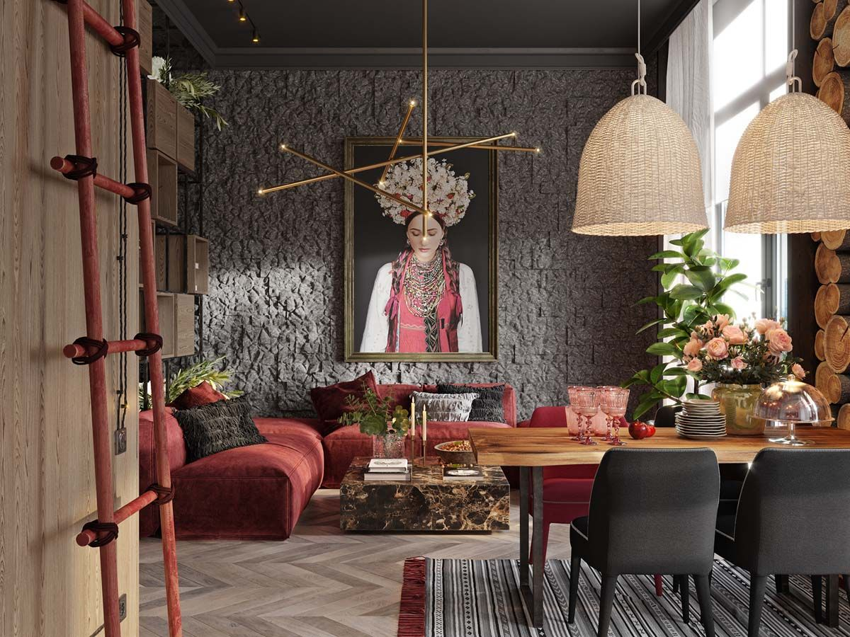 A Plush Red Apartment With Rustic Accents Interior Design
