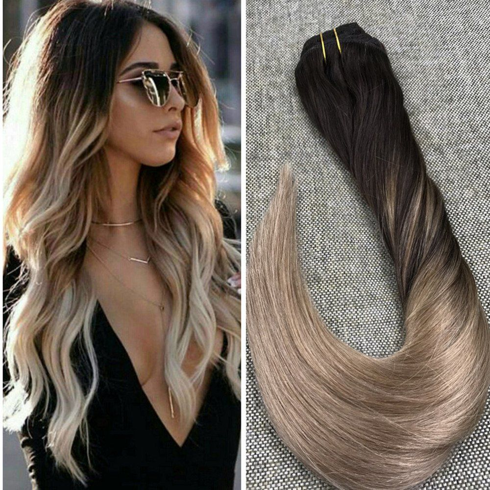 Ugeat 18inch Straight Remy Clip In Human Hair Extensions Balayage