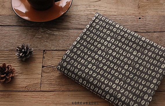 Coffee Bean Fabric Coffee Bean Pattern 43x35 100% by KoreaBacol
