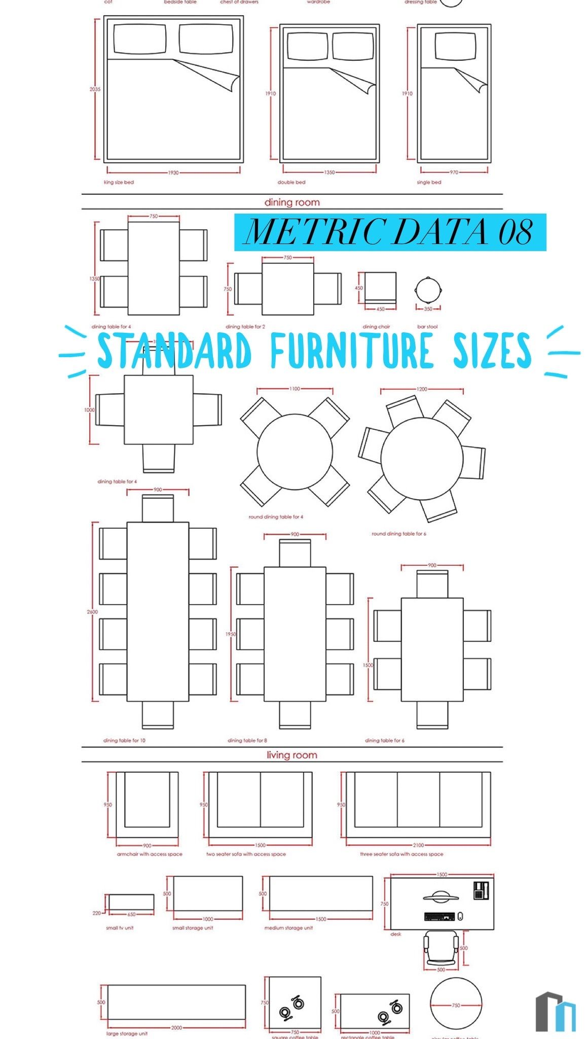 Metric Data 08 Standard Furniture Sizes Interior