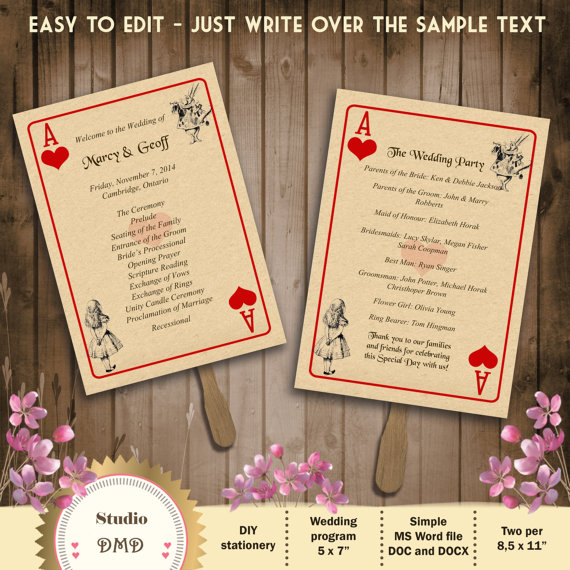 Printable Wedding Program Template Alice In By StudioDMD On Etsy - Wedding invitation templates: wedding program template word