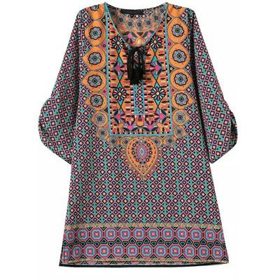 2990eur tunika kleid mit ethnomuster lila grn - Kleid Ethno Muster