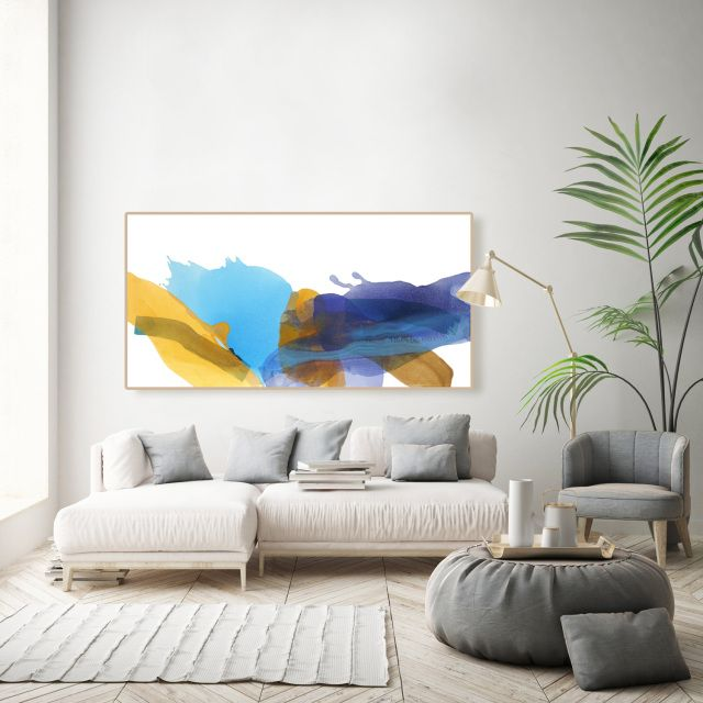 Minimalist Colorful Canvas Art Contemporary Abstract Original Painting 36x72 Bold Wall Art Above Couch Contemporary Wall Art Living Room Living Wall Decor
