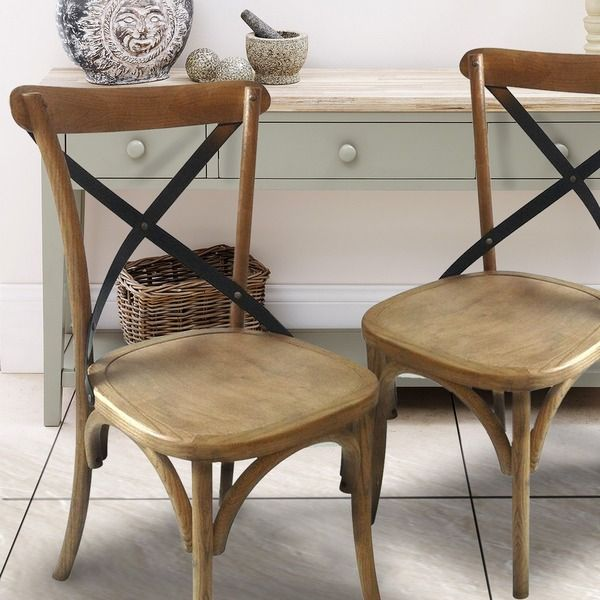 Adeco Elm Wood Antique Bistro Dining Chairs (Set Of 2)