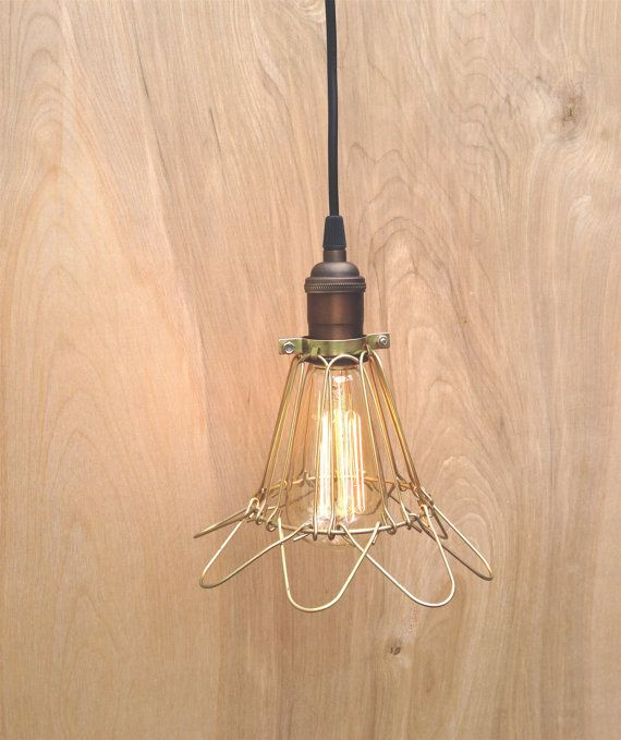 Industrial Minimal Design Brass Wire Cage Pendant Light, Modern ...