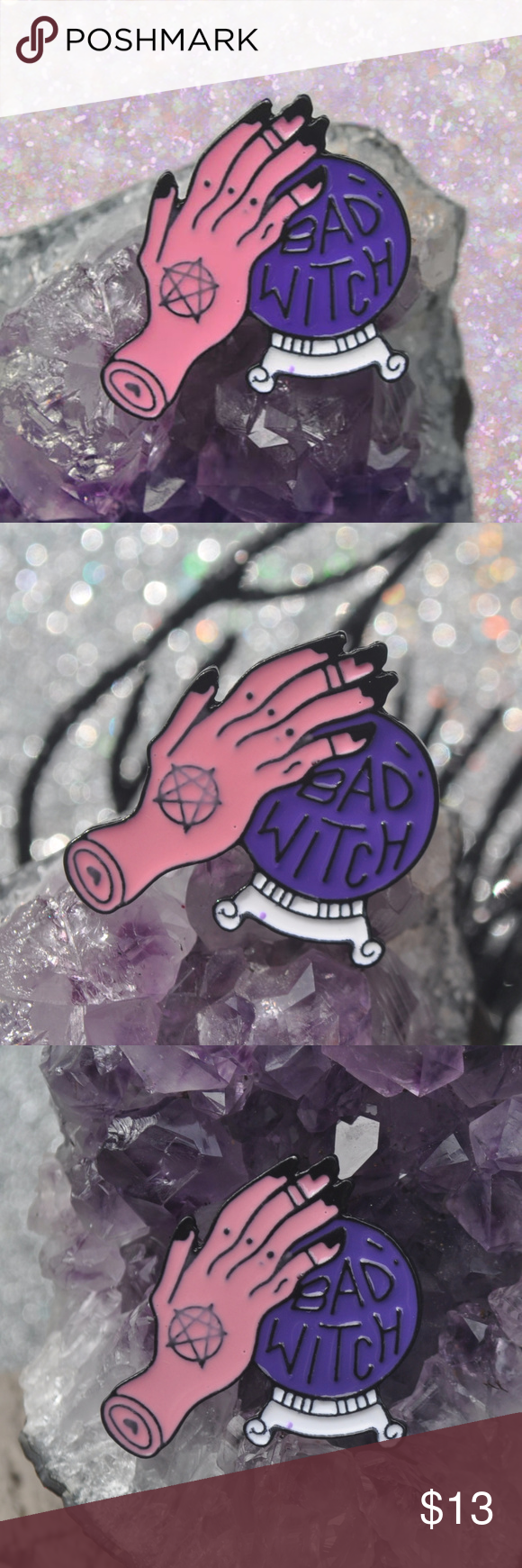 BAD WITCH Lapel Pin Brand New  / metal lapel fantasy halloween horror boo eek chic lover love spooky creepy weirdo weird strange unusual crazy psycho bae babe club camp queen black darkness ghoul monster creature nightmare vampire night sexy beauty beautiful gorgeous girls gothic goth punk rock rocker pins brooch alternative princess witchy witches witchcraft magical magic spells spell haunted haunt scary costume freak freaky pretty boss colorful crystal ball balls fortune teller hand body mysti