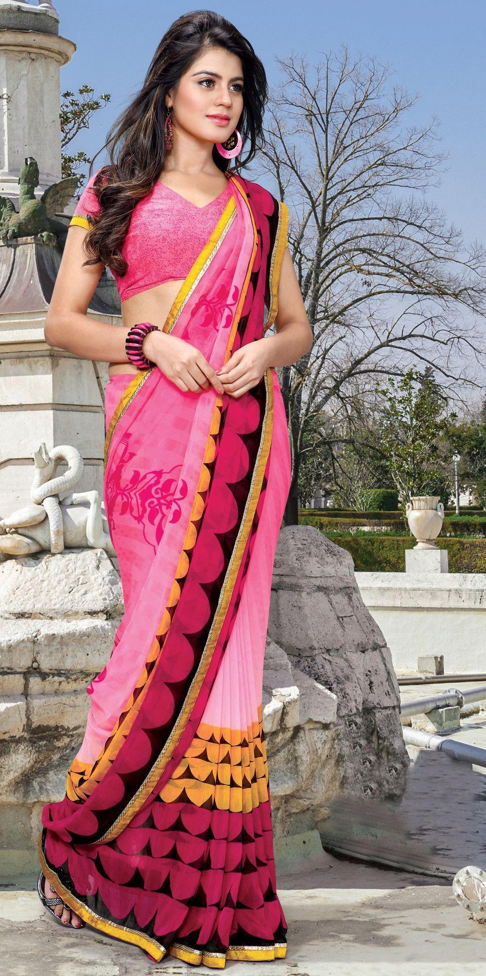 Pink Satin Party Wear Saree