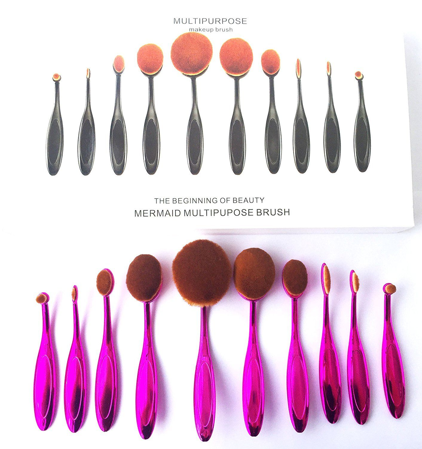 TDream New 10Pcs Soft Elite Oval Toothbrush Makeup Brush Set Foundation Brushes Cream Contour Powder Blush Concealer Brush Makeup Cosmetics Tool Set(Purple) ** To view further for this item, visit the image link.
