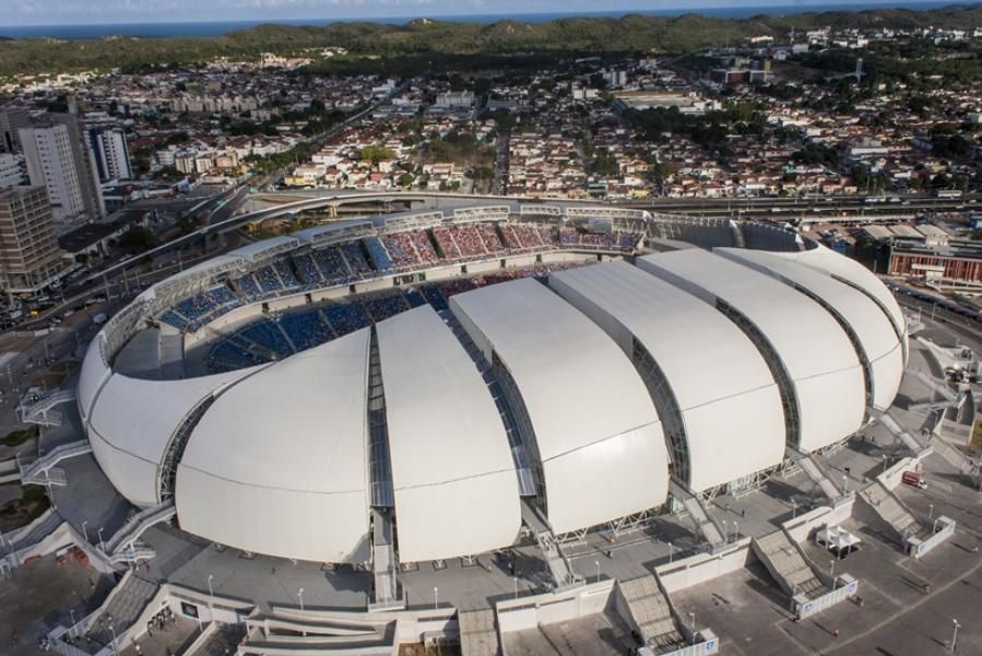 Arena Das Dunas In Natal Rio Grande Do Norte Stadium Design Stadium Architecture Futuristic Architecture