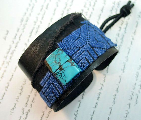 Turquoise Leather Bracelet Cuff Grand Canyon Blue by RobinStelling, $46.00