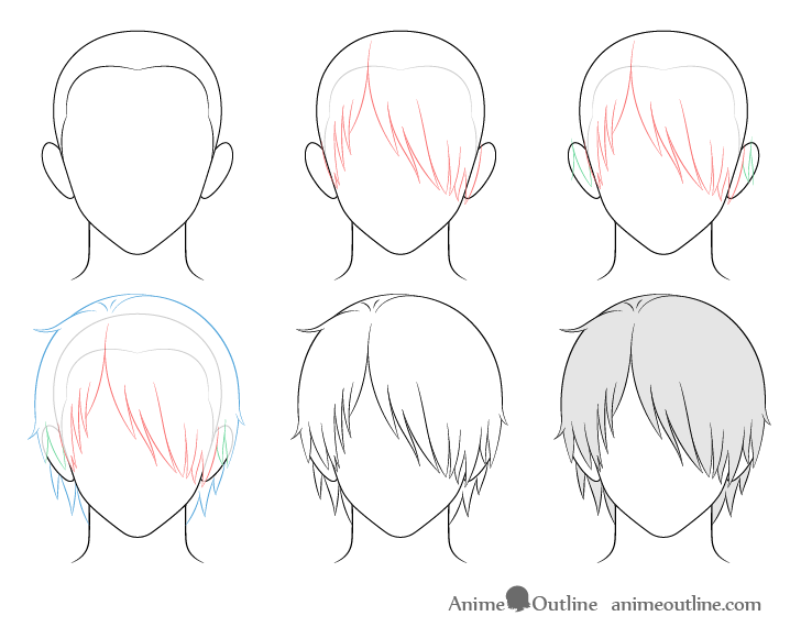 How To Draw Anime Male Hair Step By Step Animeoutline In 2020 Anime Drawings Drawing Male Hair Manga Hair