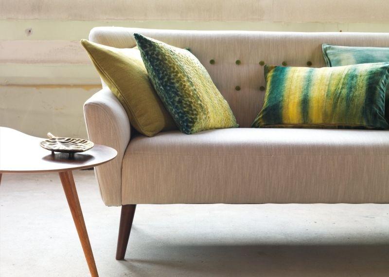 coussins et canapé à tissus ameublement Chivasso: palette beige, jaune et vert