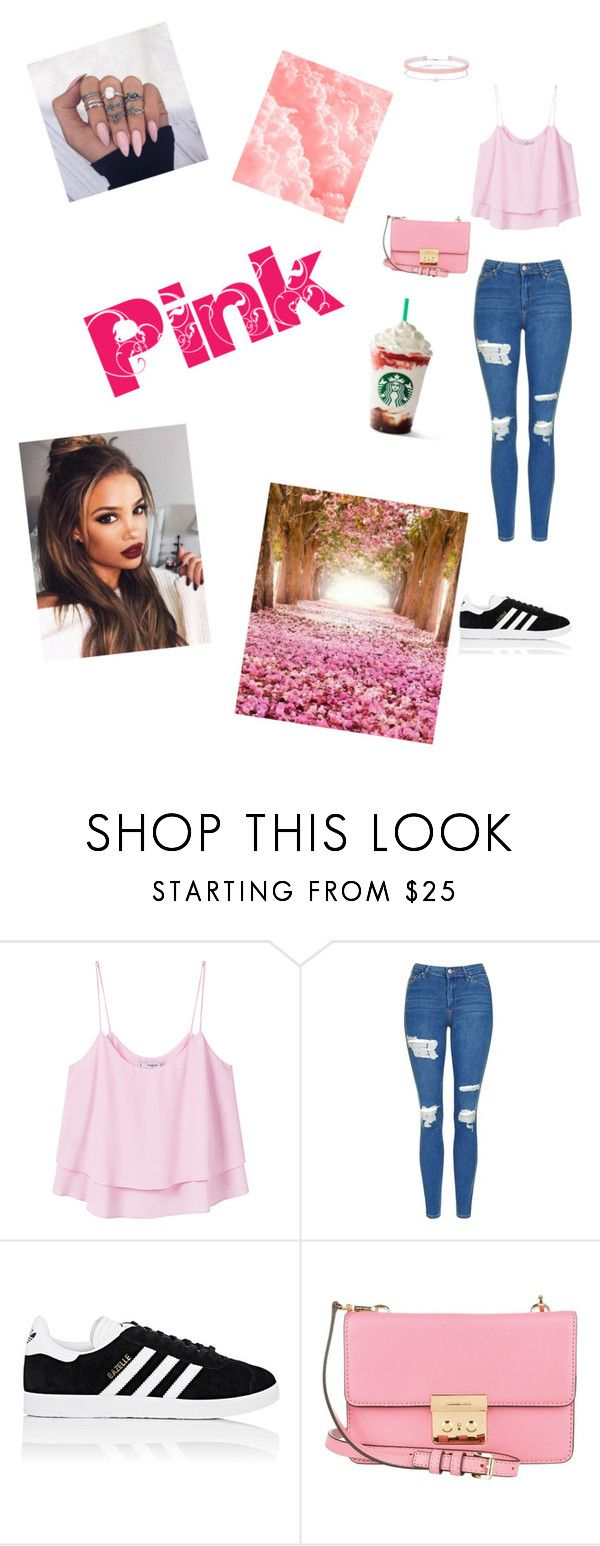 """""""Pretty in PINK!! 👛🌷"""" by lologray ❤ liked on Polyvore featuring MANGO, Topshop, adidas, MICHAEL Michael Kors and Miss Selfridge"""