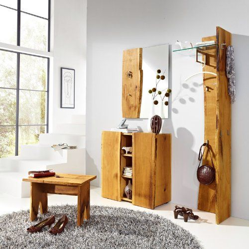 4tlg garderobenset eiche natur ge lt hocker garderobe flurm bel schuhschrank rustic diy. Black Bedroom Furniture Sets. Home Design Ideas