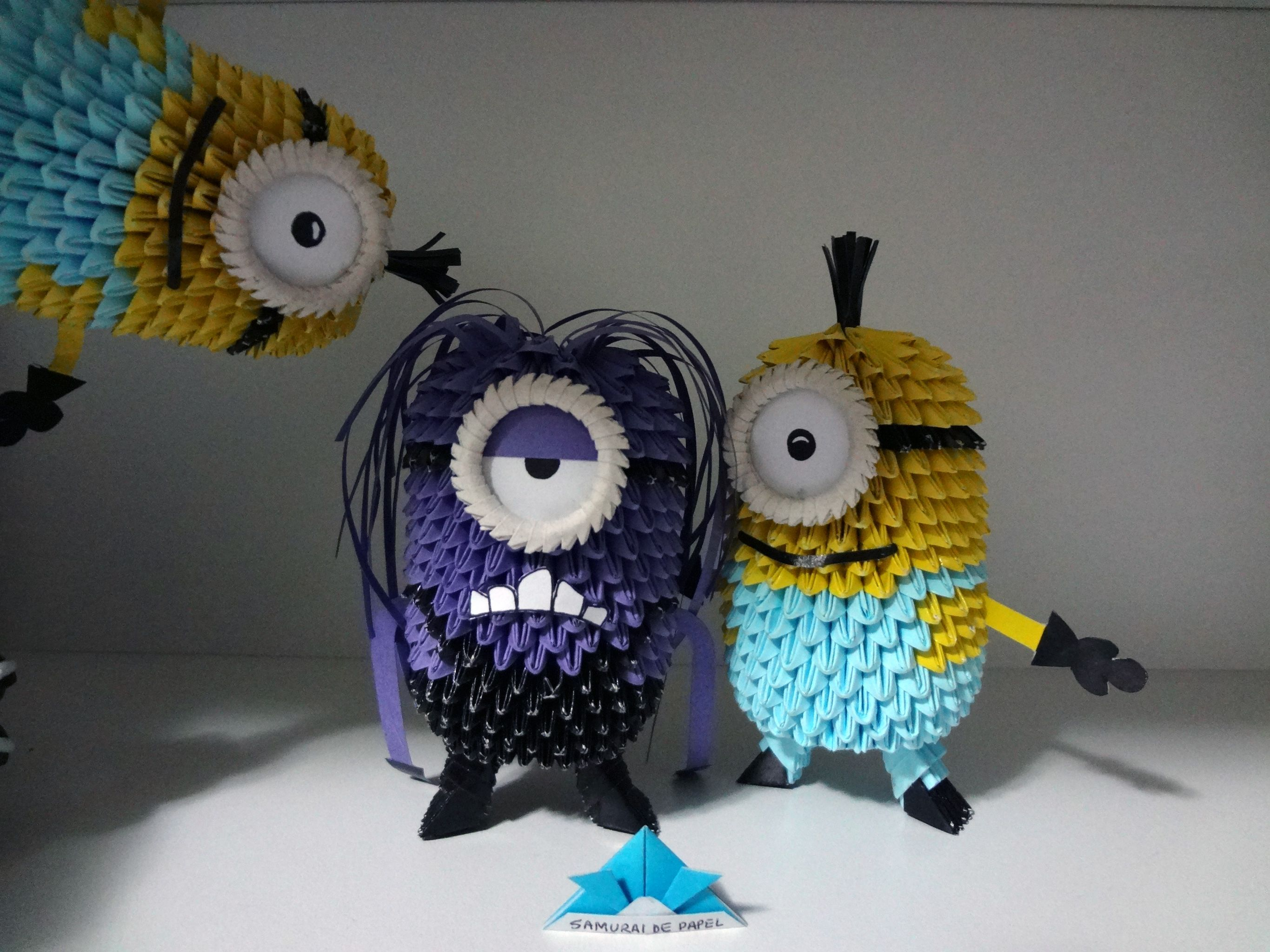 Origami 3d minions and evil minions 3d origami pinterest origami 3d minions and evil minions jeuxipadfo Images