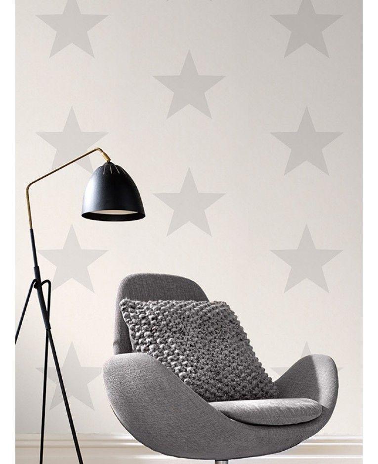 Rasch Star Wallpaper Grey On White 248135