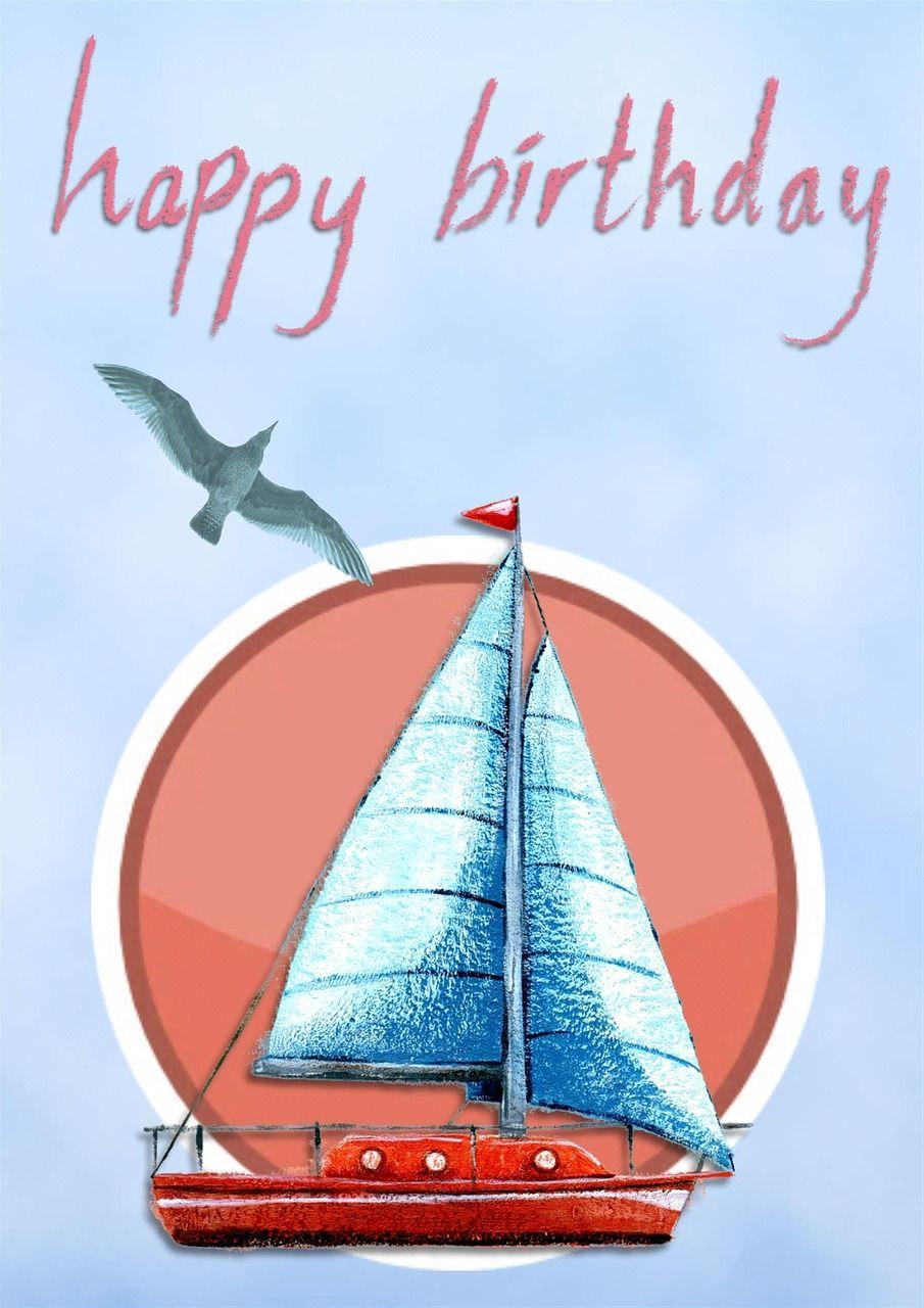Boat, Happy Birthday Card Greeting Blue Boat Boy #boat, #happy