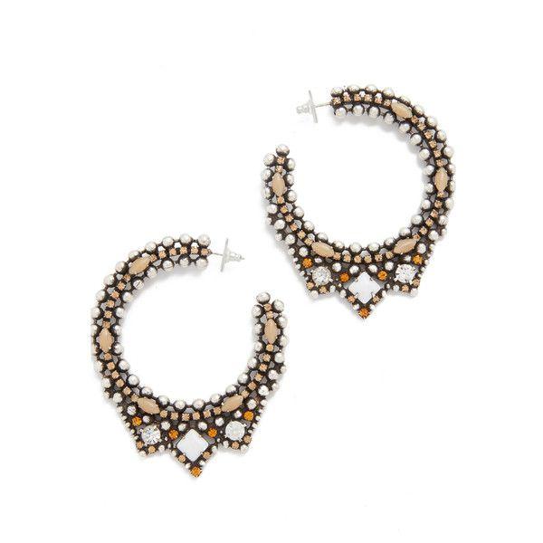 DANNIJO Virgo Earrings (1.440 BRL) ❤ liked on Polyvore featuring jewelry, earrings, swarovski crystal hoop earrings, earring jewelry, beading hoop earrings, colorful hoop earrings and beaded hoop earrings