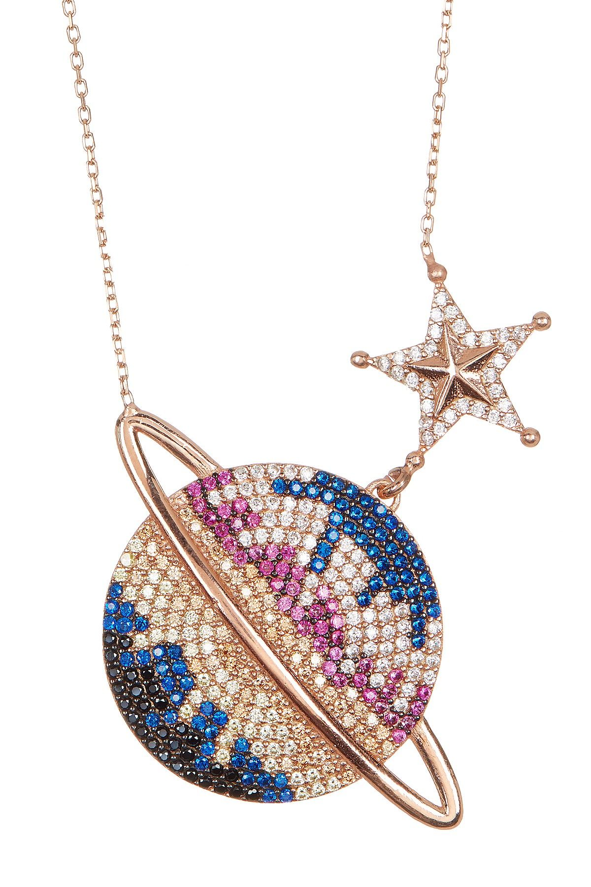 9ff353a70 18K Rose Gold Plated Sterling Silver Multicolor Swarovski Crystal Accented  Planet Necklace by Bansri on @HauteLook