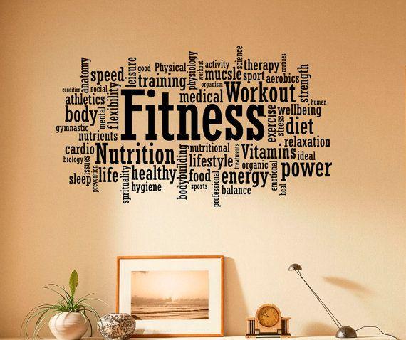 Fitness Wall Decal Vinyl Stickers Sport Gym Words Interior Home - Custom vinyl wall decals word art ideas