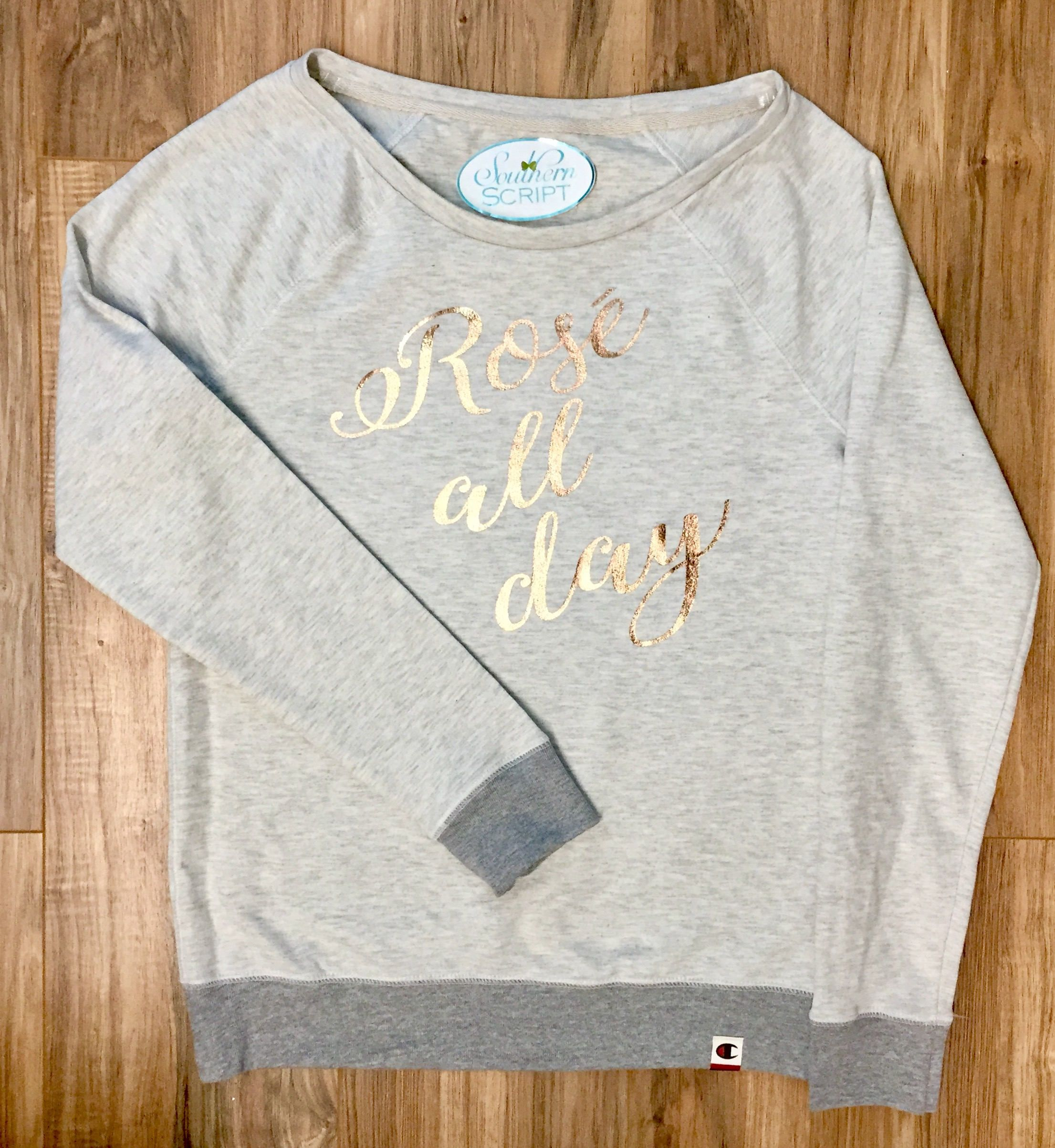 09ad8ece52c3 Rosé All Day Rose Gold Champion Sweatshirt by SouthernScriptSC on Etsy