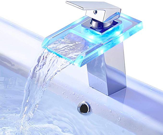 Rovate Bathroom Sink Led Waterfall Faucet 3 Colors Changing Temperature Control Light Mixer Polished Chrome Tap Review Chrome Taps Waterfall Faucet Faucet