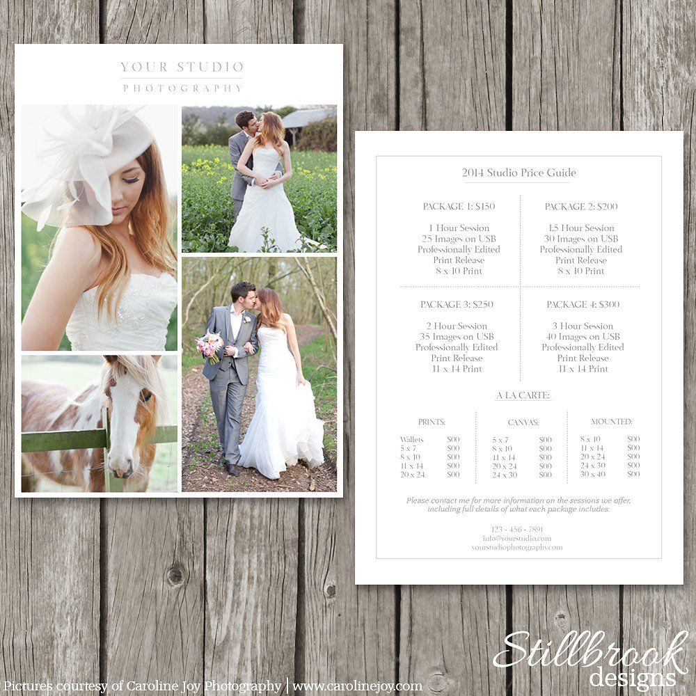 pricing guide template price sheet photography business and