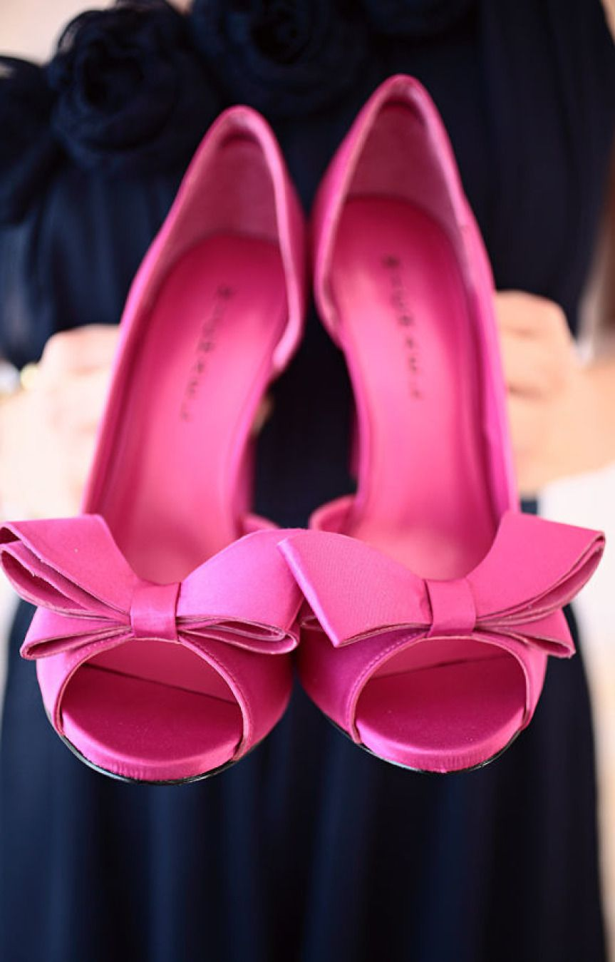 Pink Bow Tie Peep-Toe Bridal Shoes