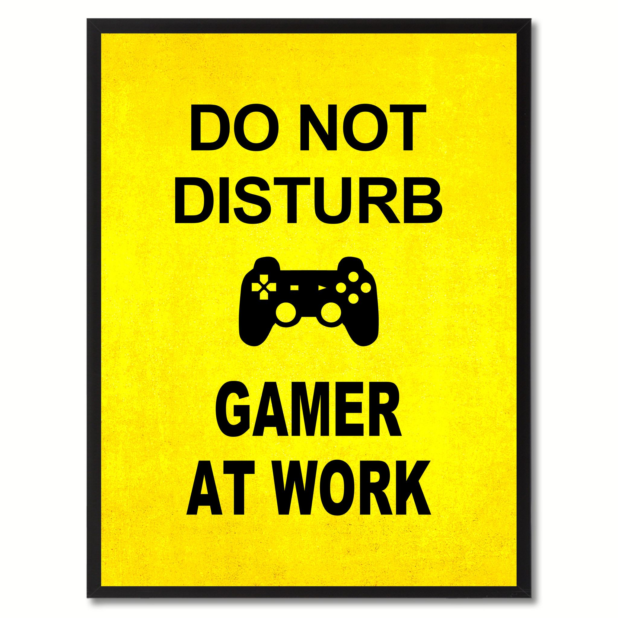 Don\'t Disturb Gamer Funny Sign Yellow Print on Canvas Picture Frames ...