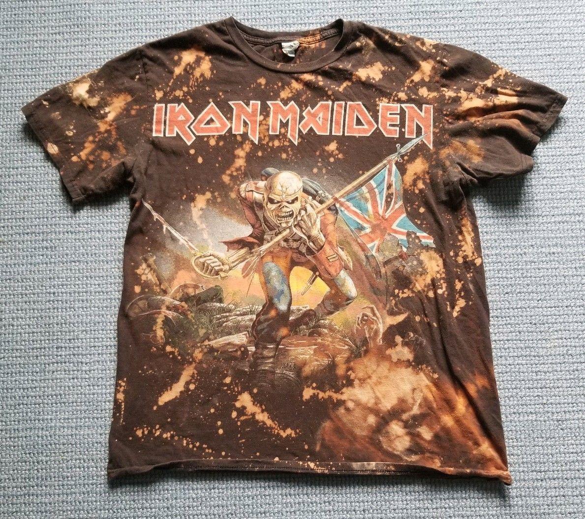 f4bd5492 Iron Maiden The Trooper Rock Band Tie Dye T-Shirt Size Large Black/Brown  Delta #IronMaiden #TheTrooper #Eddie #EddietheHead #TieDye #Metal #Rock # Band ...
