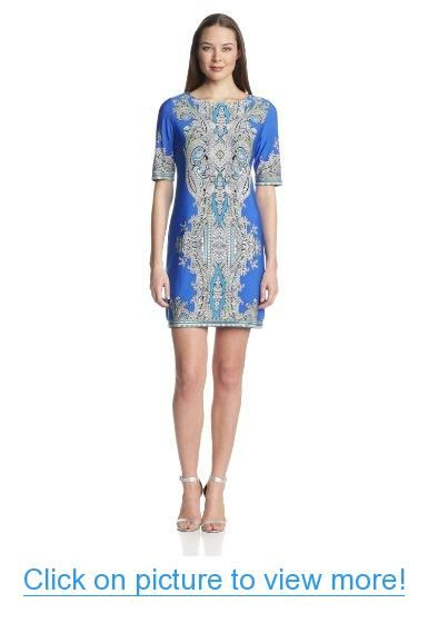 Sandra Darren Women's Elbow-Sleeve Printed Dress