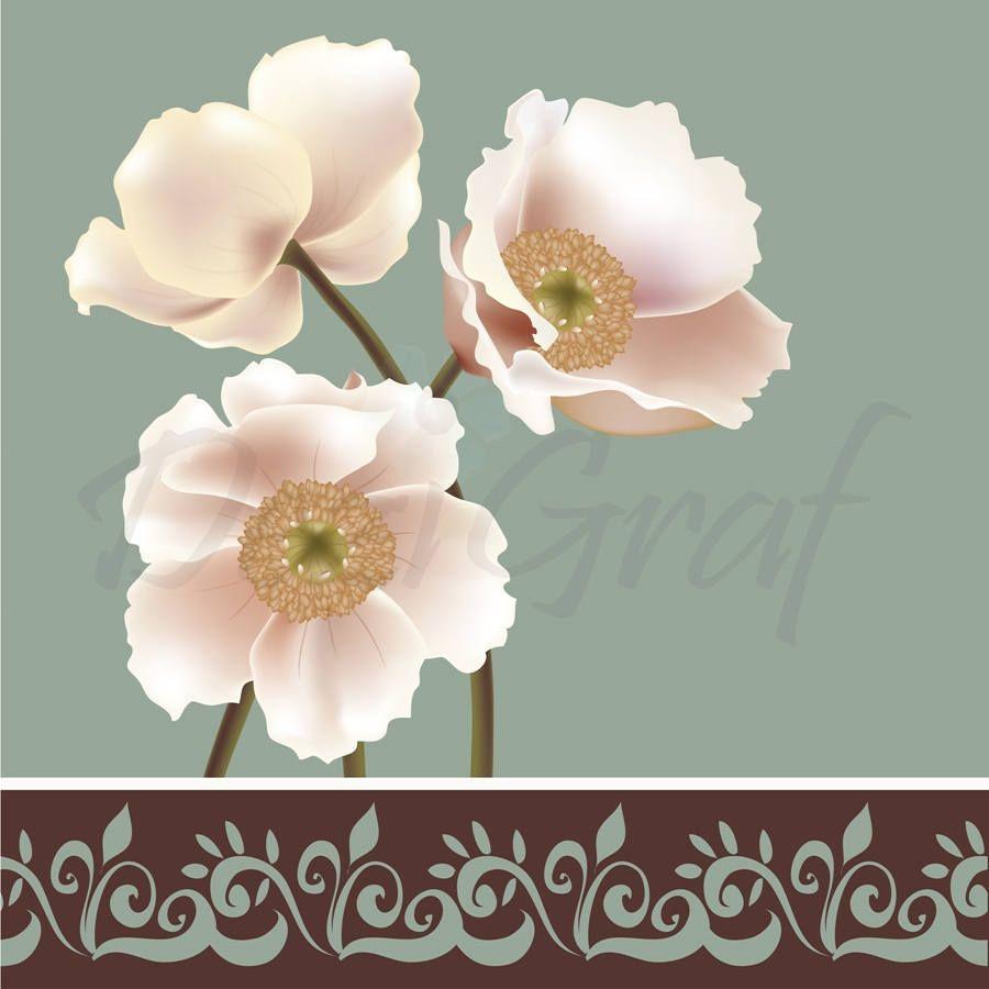 Wall art print poppy flower white blue floral home