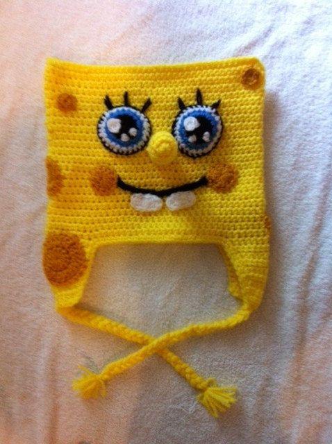 Crochet Spongebob Squarepants Inspired Beaniehat Crochet Caps