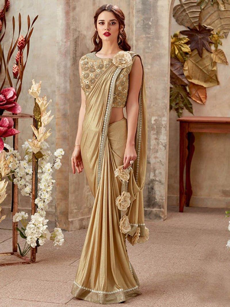 ec2d173303 Latest Designer Women's Party Wear Golden Color Border Lycra Saree with  Blouse