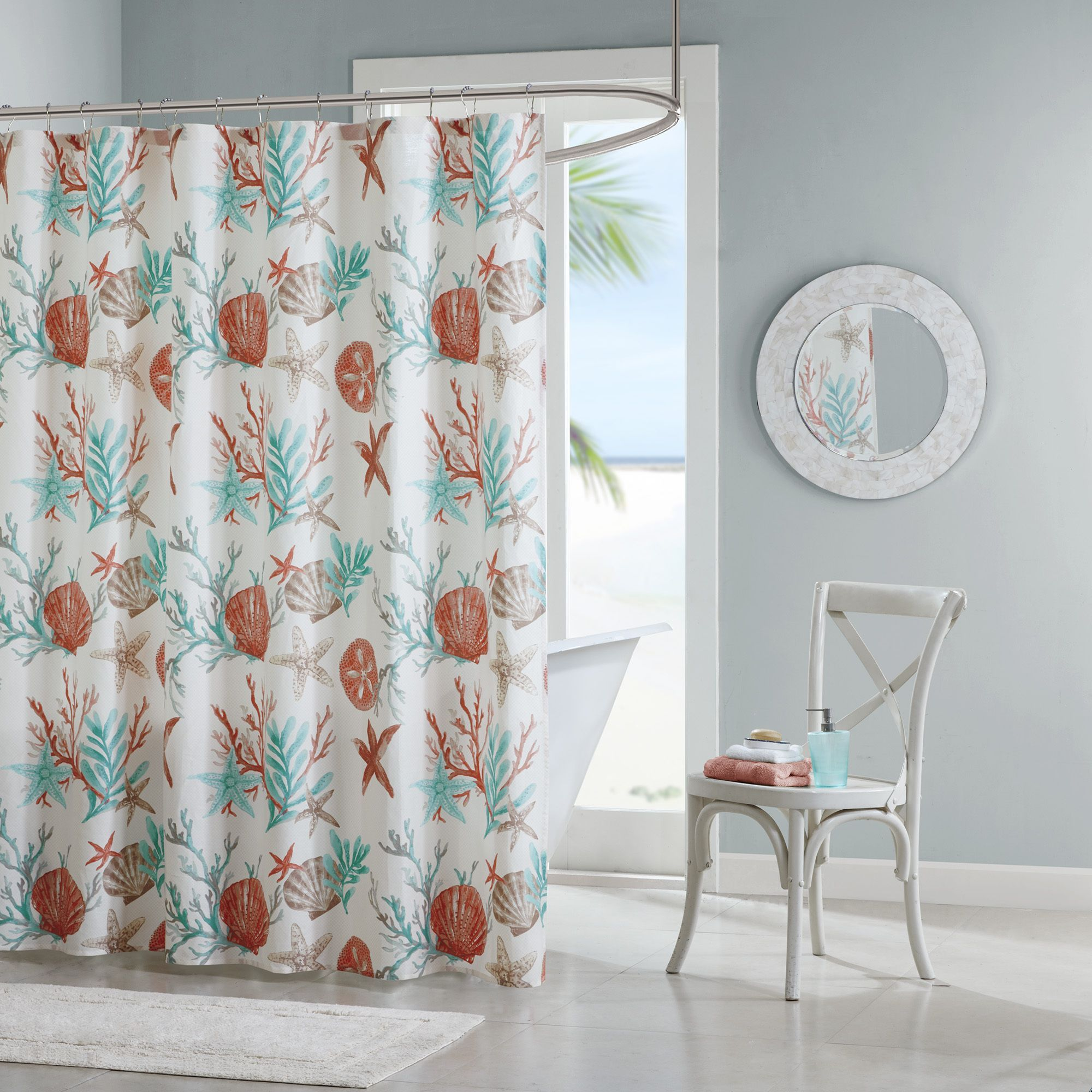 Madison Park Pacific Grove Coral Printed Shower Curtain