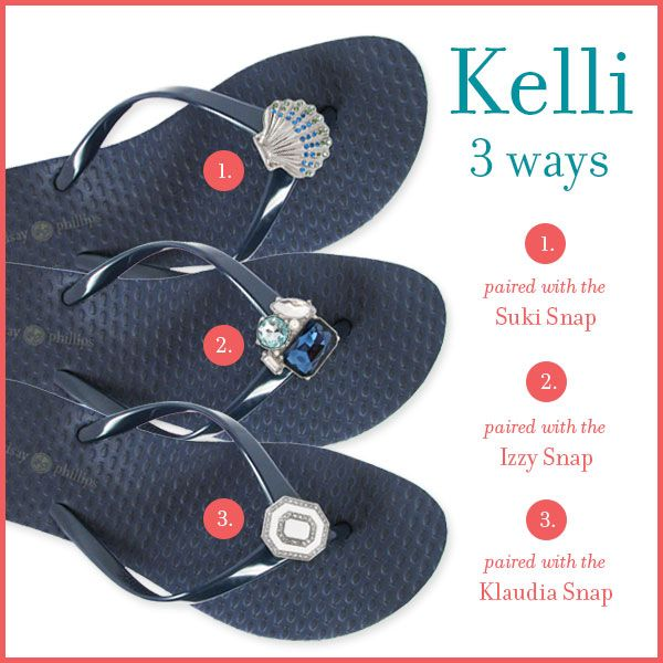 Feet, Meet Kelli Navy - an arched flip flop, featuring plush foam material. Which interchangeable snap is your style? See all of our chic, spring snaps   interchangeable shoes @ Lindsay-Phillips.com! #switchflops #ChangeYourLookNotYourSole