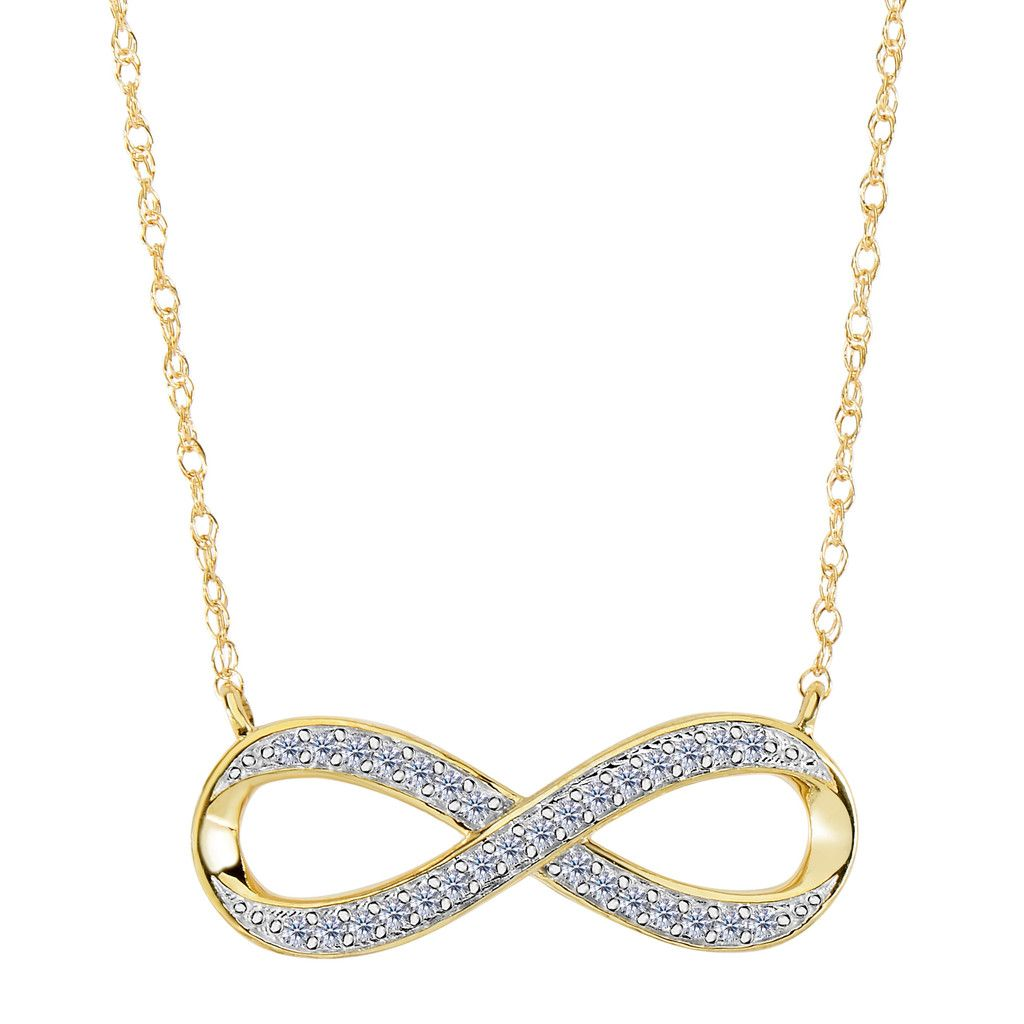 K yellow gold with ct diamonds infinity necklace inches