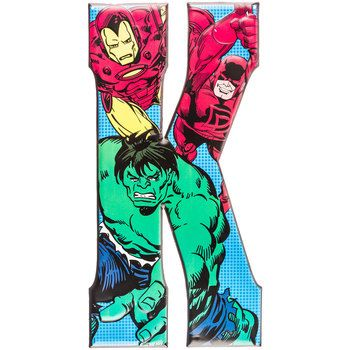 "18"" K Marvel Superheroes Iron Man, Hulk, Daredevil Embossed Tin Letter⎜Open Road Brands"