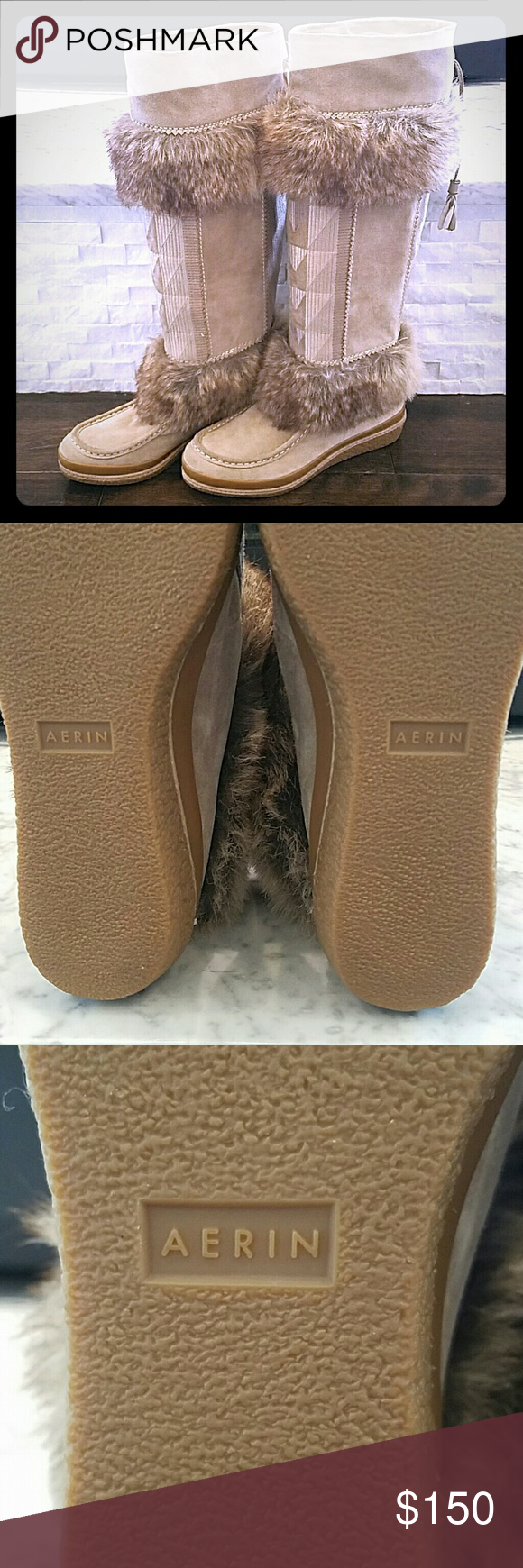 A PERFECT PAIR OF AERIN WINTER BOOTS A perfect pair of beautiful faux fur AERIN winter boots. These are brand new never been worn see all of the attached pics. Need to go to a good home and be worn. These are beautiful and are size 6.5 and are TTS. AERIN  Shoes Winter & Rain Boots