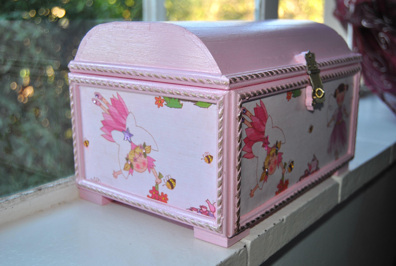 Girl S Treasure Chest Jewelry Box Decorative Boxes Treasure Chest Painted Furniture