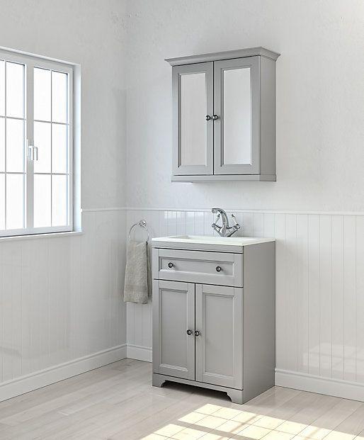 Cooke Lewis Chadleigh Matt Light Grey Vanity Unit With Basin Mirror Cabinet Grey Vanity Unit Basin Vanity Unit Gray Vanity