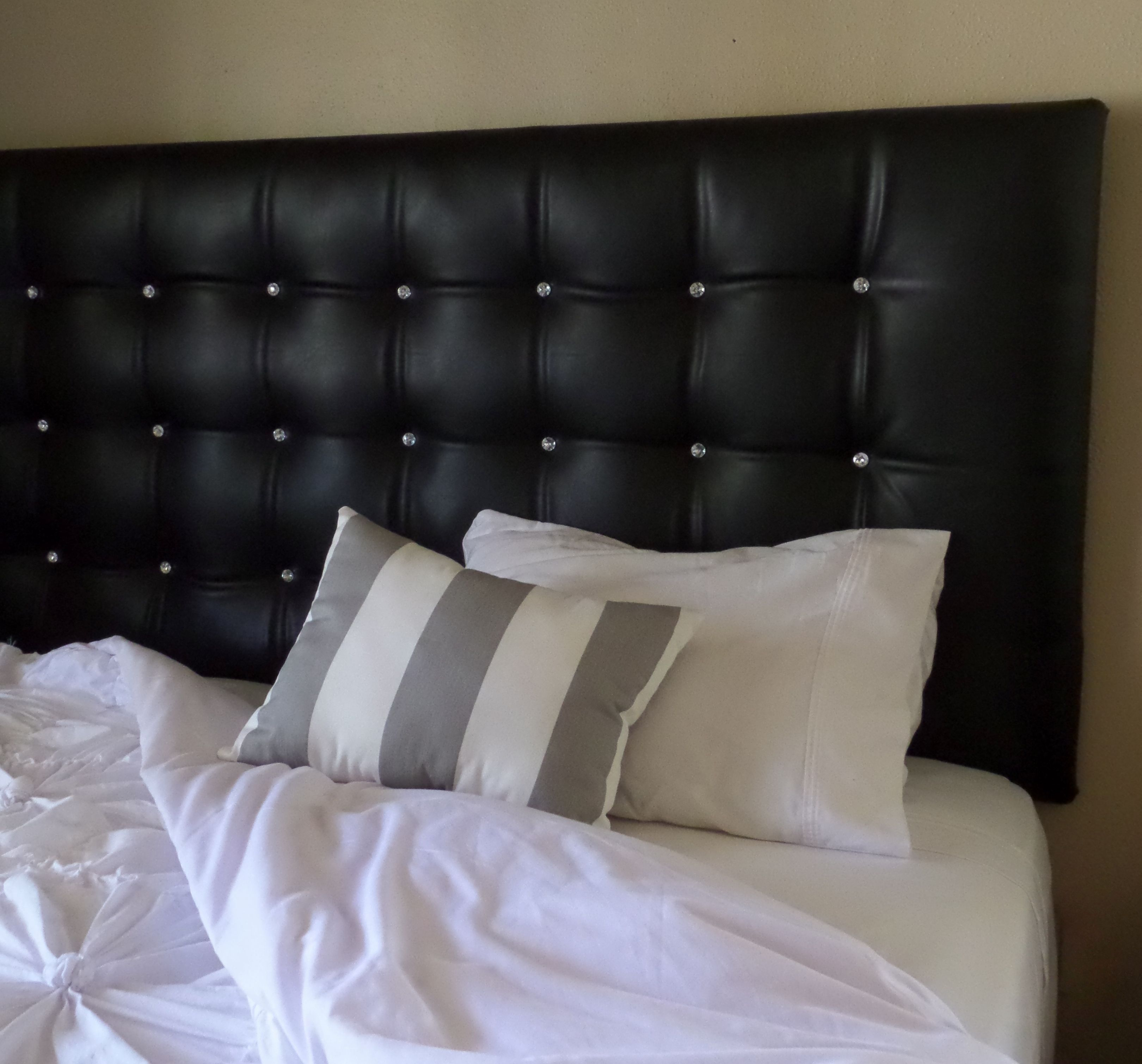 King size black faux leather tufted upholstered headboard for Unique king headboards