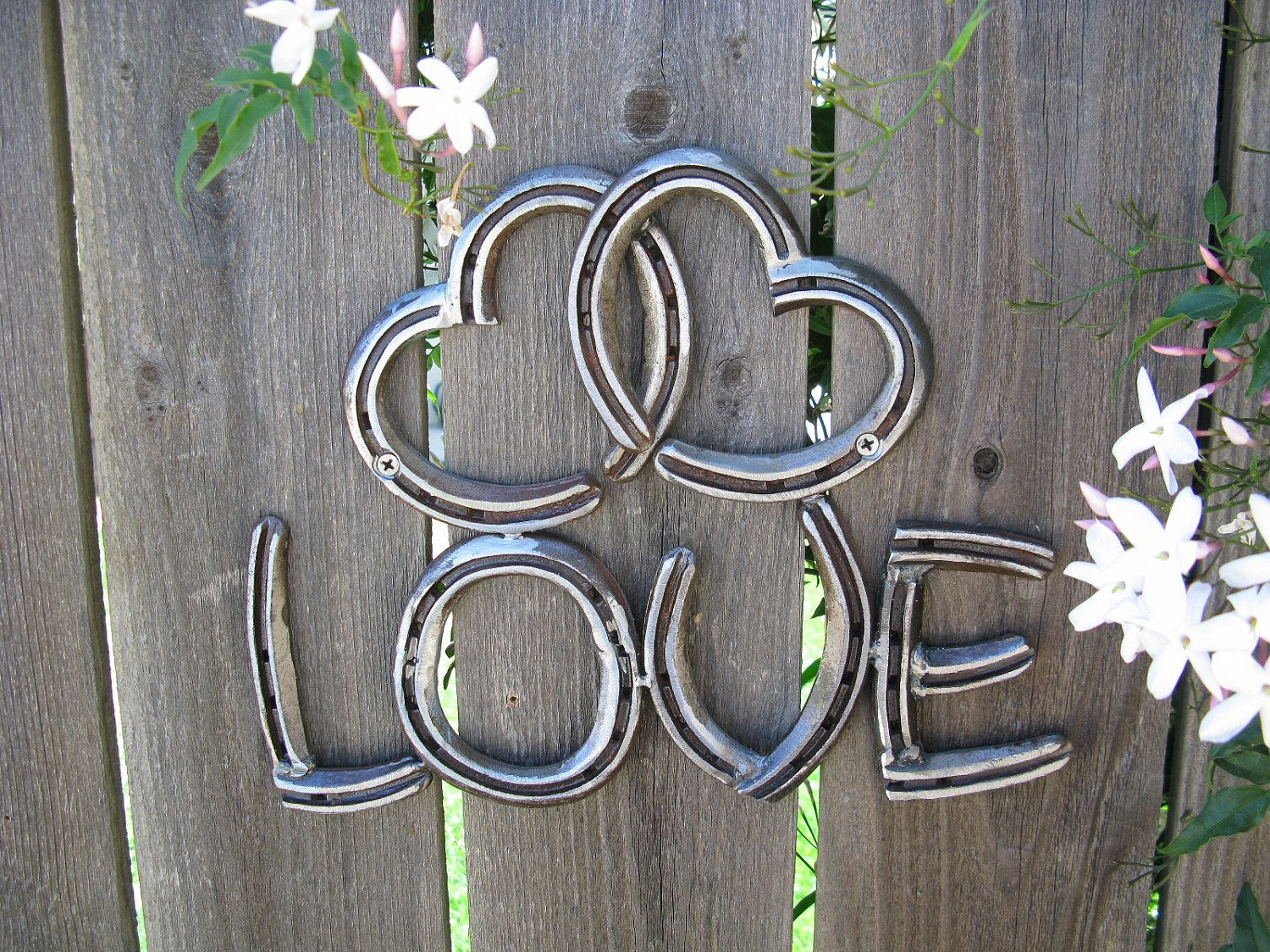 Horseshoe arts and crafts - Two Hearts As One Love Recycled Horseshoe Sign Clear By Willcapps 35 00