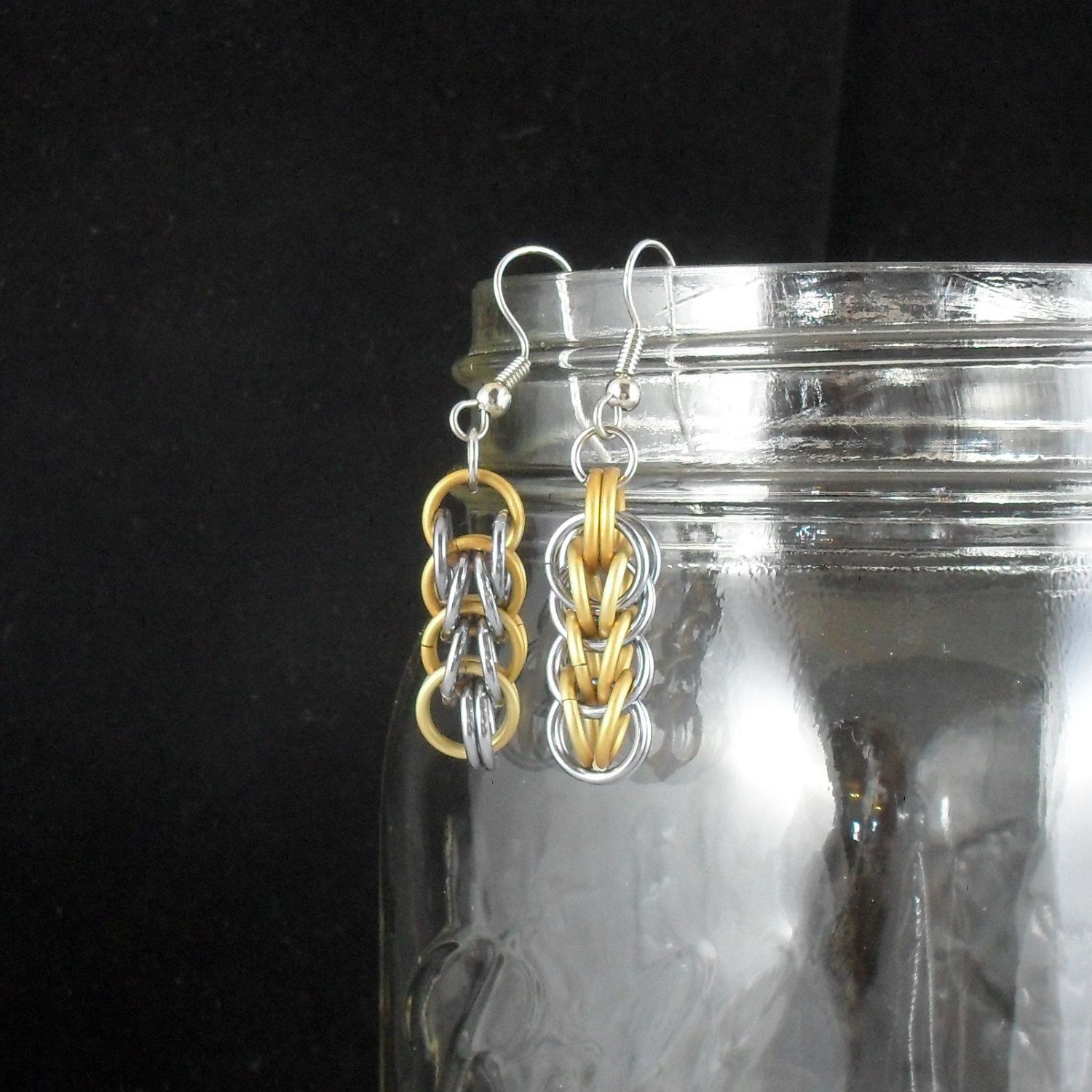 Annely - Gold and Champagne Full Persian Earrings. $10.00, via Etsy.