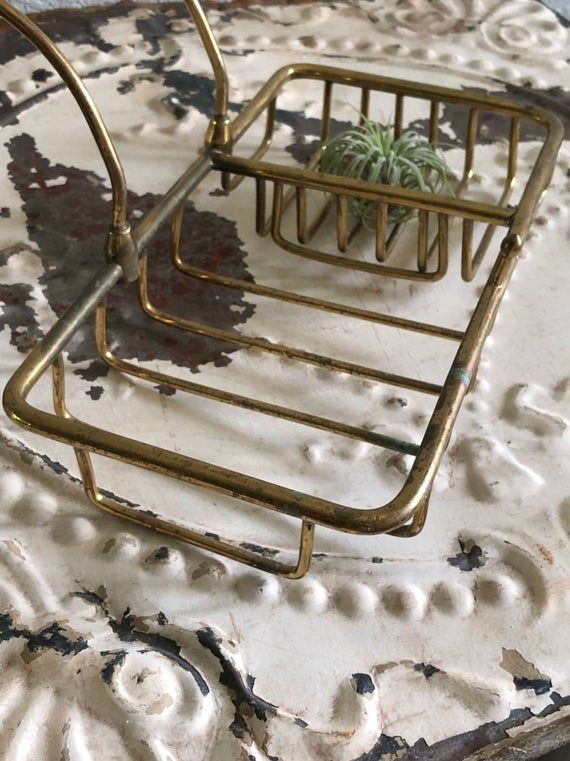 Brass Metal Soap Dish Wire Sponge Basket For Claw Foot Tub