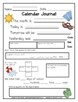 August - June Calendar Journals to keep students engaged during calendar time.
