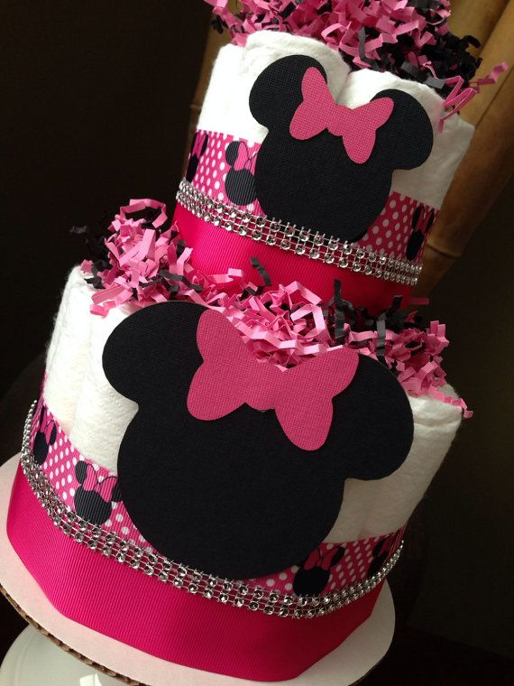 Minnie Mouse Diaper Cake Baby Shower By Mrsheckeldiapercakes
