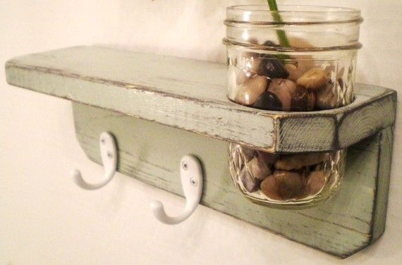 Primitive Wooden Wall Shelf with Mason Jar by Midwestern Treasures contemporary wall shelves