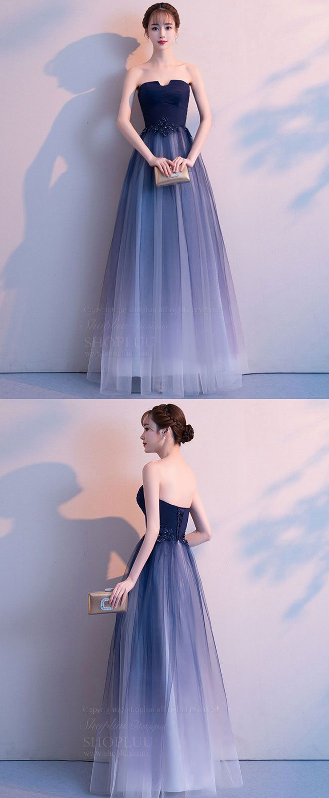 Simple tulle long prom dress tulle bridesmaid dress evening