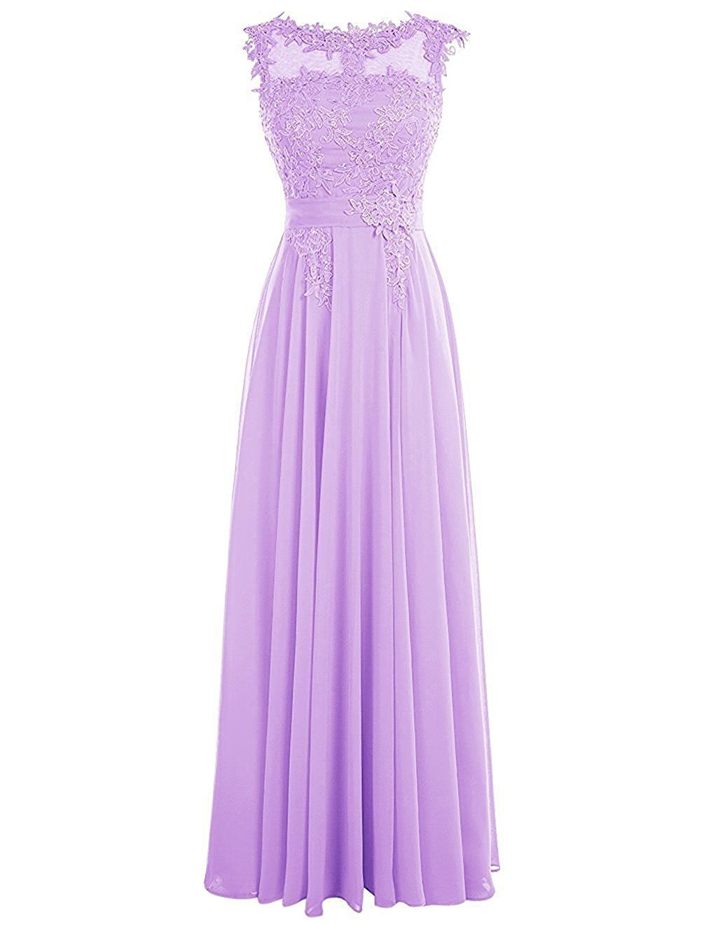 Clearbridal Women\'s Lace Applique Chiffon Prom Evening Dress Sheer ...